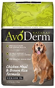 AvoDerm Natural Chicken Meal and Brown Rice Formula Senior Dog Food, 26-Pound