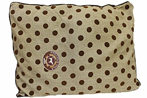 Deluxe Large Brown Polka Dot Dog Pet Bed 35