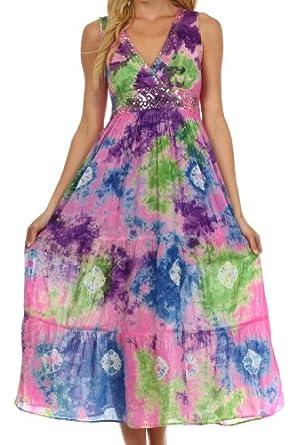 Sakkas West Indies Empire Waist Dress: Amazon Fashion