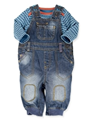 2 Piece Pure Cotton Denim Dungaree Outfit