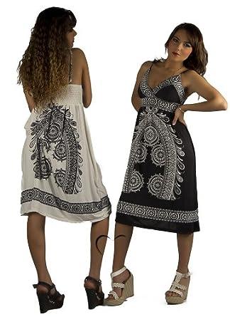 Silamoda - Femme - Robe d'été mi-longue à motifs - Unique - Blanc