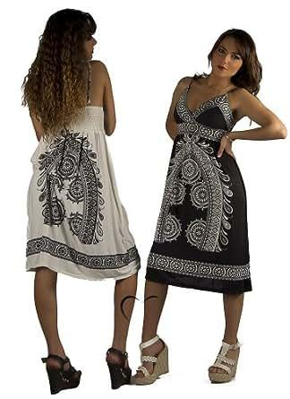Silamoda - Femme - Robe d'été mi-longue à motifs - Unique - Noir