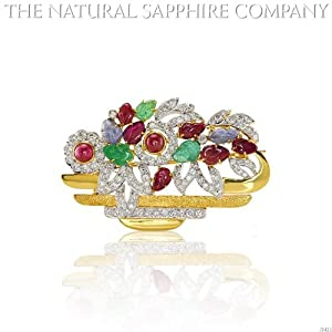 Natural Ruby, Emerald and Sapphire Brooch with diamond 1.15ct. Diamonds. (J3421)