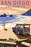 San Diego, California - Woody on Beach (16x24 Giclee Gallery Print, Wall Decor Travel Poster)