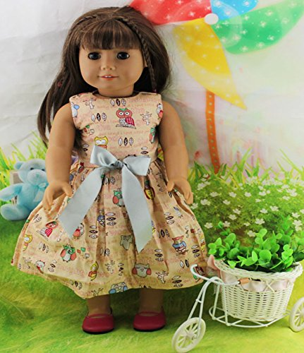 Teenitor(TM) Khaki Dress With Cute Animal Pattern Fits 18 Inch Girl Dolls (Shipping By FBA)
