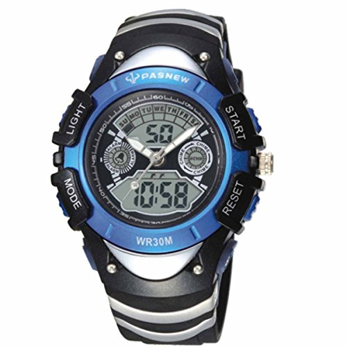 PASNEW Ori-0845 屋外防水ラウンド ダイヤル スポーツ腕時計子供男の子女の子ディープ ブルー