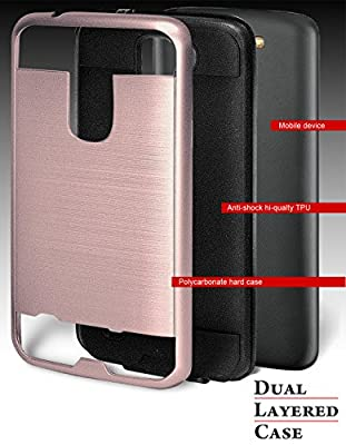 LG K7 Case, Phonelicious® [Slim Fit] [Brushed Metal Texture] Hybrid Ultimate Drop Protection Rugged Phone Cover Accessories for LG K7 + Stylus (ROSE GOLD CHROME) from Phonelicious