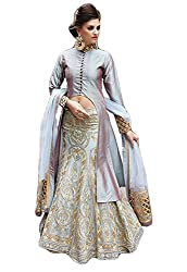 Justkartit Women's Georgeous Semi-Stitched Light Blue Colour Stylish Dress Material With Net Lehenga & Choli / Zoya Dress Material Collections / Wedding wear & Party Wear Collection With Heavy Embroidery & Satin Dhupion Top