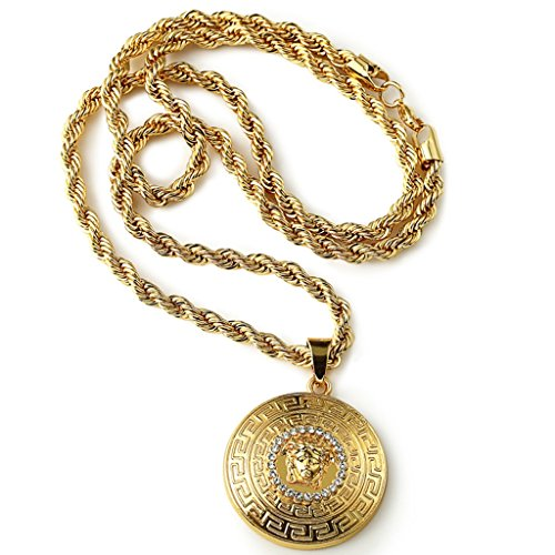Halukakah mens 18k stamp real gold plated 3d medusa pendant halukakah mens 18k stamp real gold plated 3d medusa pendant necklace with free rope chain 30 aloadofball Choice Image