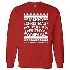Ugly Christmas Sweater Merry Xmas Ya Filthy Animal Crew neck
