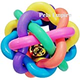 Dog Cat Pet Toys Play Woven Balls With Inner Bell Colorful Squeaky Rainbow Rubber Healthy 6cm (7.5 Cm)