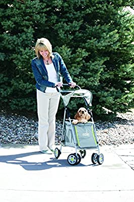 Outward Hound 21011 Walk N Roll Pet Stroller Fold Up Stroller For Dogs With Shade Shelter Locking Brakes, Large, Grey