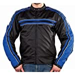 Armored Motorcycle Jackets, Motorcycle Jacket has Removable Armor with Black & Blue Colors, Racing Jacket is Vented & Includes a Zip Out Lining, Skull Graphics, Size : 3XL, XXX-Large, 52 to 54