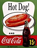 CLASSIC COCA COLA - COKE HOT DOG - OFFICIALLY LICENSED STEEL METAL ADVERTISING WALL PLAQUE SIGN - 41CM X 32CM PEPSI