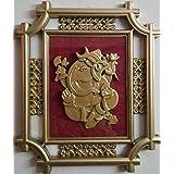 Laps Of Luxury - Ganesha God Idol Wall Hanging Glass Photo Frame In Golden Colour Metal Like Border Finish (16x14...