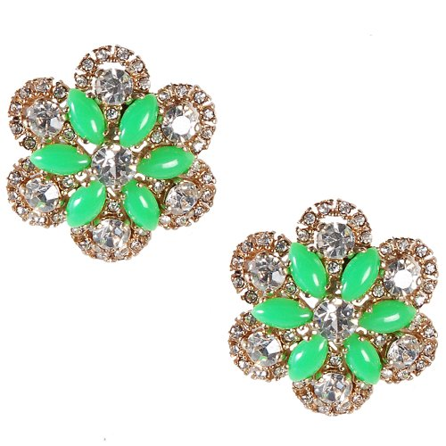 Jane Stone Wholesale Beautiful Shiny Flower Diamond Earring Green Personalized Jewelry Christmas Gift Bridesmaids Jewellery(E0340-Green)