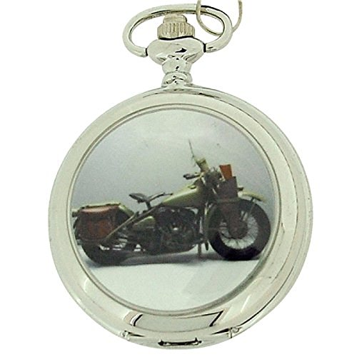 Gents White Dial Harley Motor Bike Pocket Watch on 12 Inch Chain