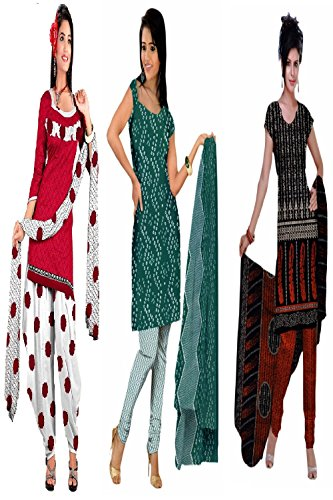 Araham soft crepe / American crepe dress material / unstitched Salwar Suit pack of 3 combo No 614
