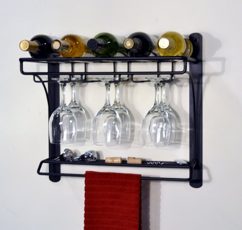 J&J Wire Wall Mount Wine Bar Rack (Wire Wall Wine Rack compare prices)
