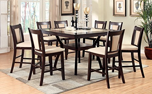 Furniture of America Dalcroze 9-Piece Modern Faux Marble Top Pub Dining Set, Dark Cherry (D Piece Kitchen Table Set compare prices)