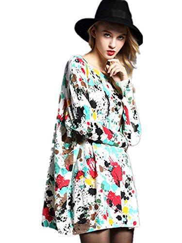 Coffeepop da donna donna stampa Graffiti Manica lunga maglia maglione 07 Taglia unica