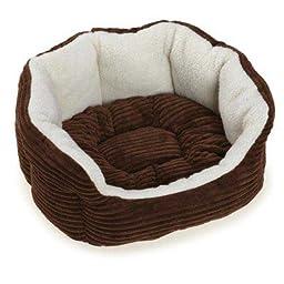 Slumber Pet Cozy Cord Pet Bed, 26-Inch, Chocolate