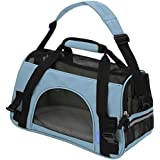 """OxGord® Pet Carrier Soft Sided Cat / Dog Comfort """"FAA Airline Approved"""" Travel Tote Bag - 2015 Newly Designed, Large, Mineral Blue"""