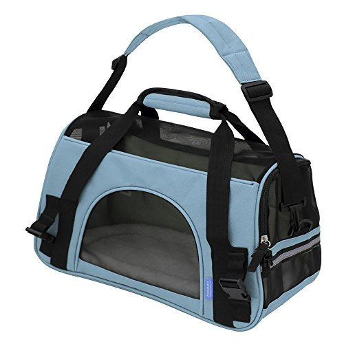 "OxGord® Pet Carrier Soft Sided Cat / Dog Comfort ""FAA Airline Approved"" Travel Tote Bag – 2015 Newly Designed, Large, Mineral Blue"