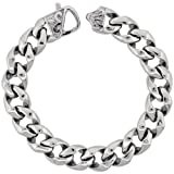 Stainless Steel Large Cuban Curb Link Chain Bracelet w/ Fleur De Lis on Clasp, 8.5 in.