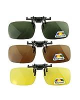 Baakyeek Lot de 3paires de lunettes de soleil polarisantes clipsables unisexes adaptées aux myopes et à la vision nocturne