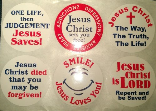 Six Unique Round Jesus Stickers (10 Cards of 6 for a Total of Sixty Stickers)
