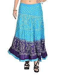 Aura Life Style Women's Cotton Bandhej Skirt (ALSK3014B, Multi , Free Size)