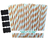 Outside the Box Papers Striped Paper Straws 7.75 Inches Peach, White