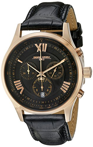 Jorg Gray JG6600-21 - Reloj analógico de cuarzo para hombre, correa de cuero color negro
