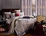Iris - Jacquard Damask - 6 Pc. King/ Cal. King Duvet Cover Luxury Bedding Set - Entire Set Includes: (1 Duvet Cover, 1 Fitted Bed Sheet, 2 Shams, 2 Pillow Cases) - Includes a Gift Box and Gift Bag!