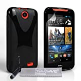 Yousave Accessories HTC Desire 310 Case Black Silicone X-Line Cover With Mini Stylus Pen