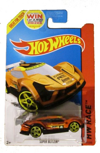Hot Wheels 2014 Hw Race Track Aces Orange Super Blitzen 163/250 Code Car - 1