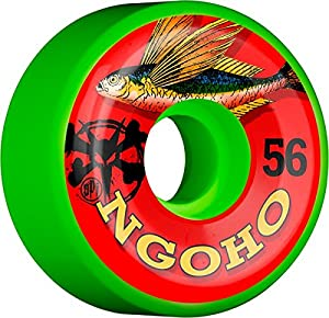 Bones Wheels Pat Ngoho Skatepark Formula Fish Green Skateboard Wheels - 56mm 84b (Set of 4)