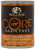 Wellness Grain-Free Canned Dog Food for Adult Dogs, CORE Turkey/Chicken Liver/Turkey Liver Recipe, 12-Pack of 12-1/2-Ounce Cans thumbnail