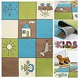 Kinderteppich Spielteppich Bunt Kariert mit Kästchen