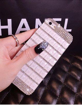 Lanlan Diamond Rhinestone Glitter Bling Case For Iphone 4/4S - Handmade Full Diamond Square Cover Case With Glitter Rhinestone For Girls Women(White)