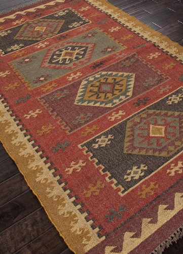Addison and Banks AMZ_BD0038 Flat Weave Tribal Pattern Hemp/Jute Handmade Rug, 8 by 10-Inch