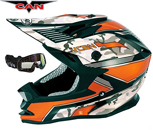 V-CAN V321 FORCE NEW MX MOTOR BIKE CYCLE TRACK RACE GOLD ACU HELMET ORANGE AND BLACK GOGGLE (L (59 to 60 CM))