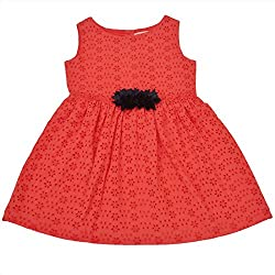 CrayonFlakes Kids Wear for Girls 100% Cotton Sleeveless Anglaise Frock Dress