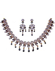 Cubic Zircon Stone Studded Necklace Set With Two Tone Rhodium Plating