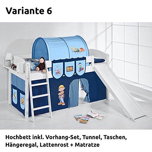 Hochbett Spielbett IDA Bob der Baumeister, mit Rutsche und Vorhang, weiß, Variante 6 günstig kaufen