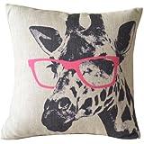 Cartoon-Giraffe-Rosa-BaumwolleLeinen-berwurf-fr-Sofa-Kissen-Kissenbezug-Sham-Slipcovers-Kissenbezug-quadratisch-46-x-46-cm-4572-cm-nur-Bezug-ohne-Einsatz
