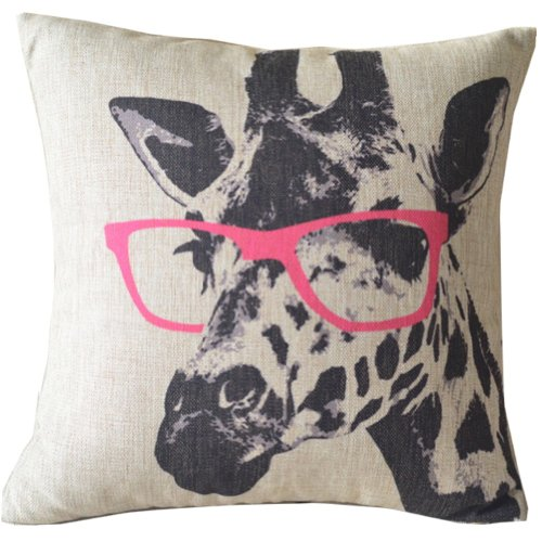 Animal Style Giraffe Pink Glasses Sofa Simple Home Decor Design Throw Pillow Case Decor Cushion Covers Square 18*18 Inch Beige Cotton Blend Linen