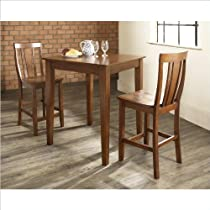Hot Sale 3 Piece Pub Dining Set with Tapered Leg and Shield Back Stools Classic Cherry