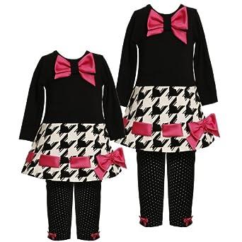 Size-6X BNJ-4938B 2-Piece BLACK/WHITE PINK Houndstooth Pull-Thru Satin Bow Trim Dress/Legging Outfit Set,B34938 Bonnie Jean LITTLE GIRLS